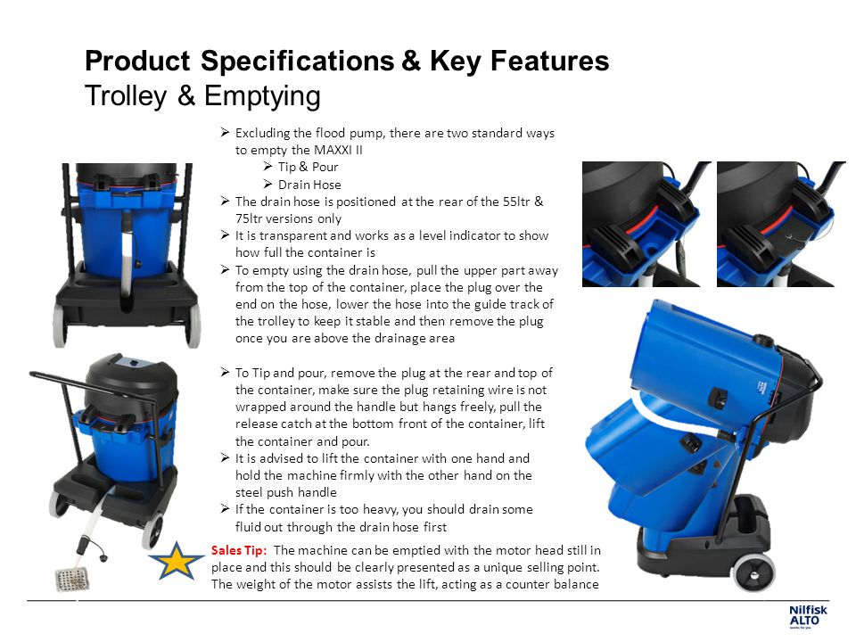 Product Specifications & Key Features Trolley & Emptying