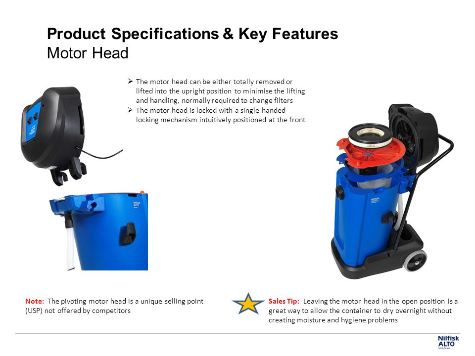 Product Specifications & Key Features Motor Head