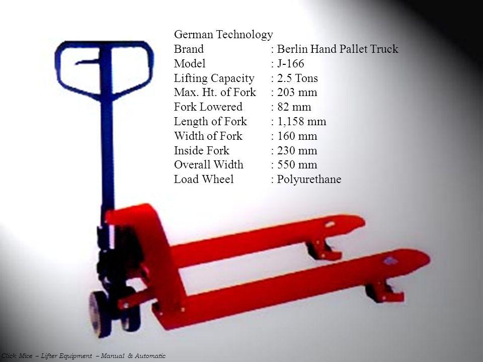 Brand : Berlin Hand Pallet Truck Model : J-166
