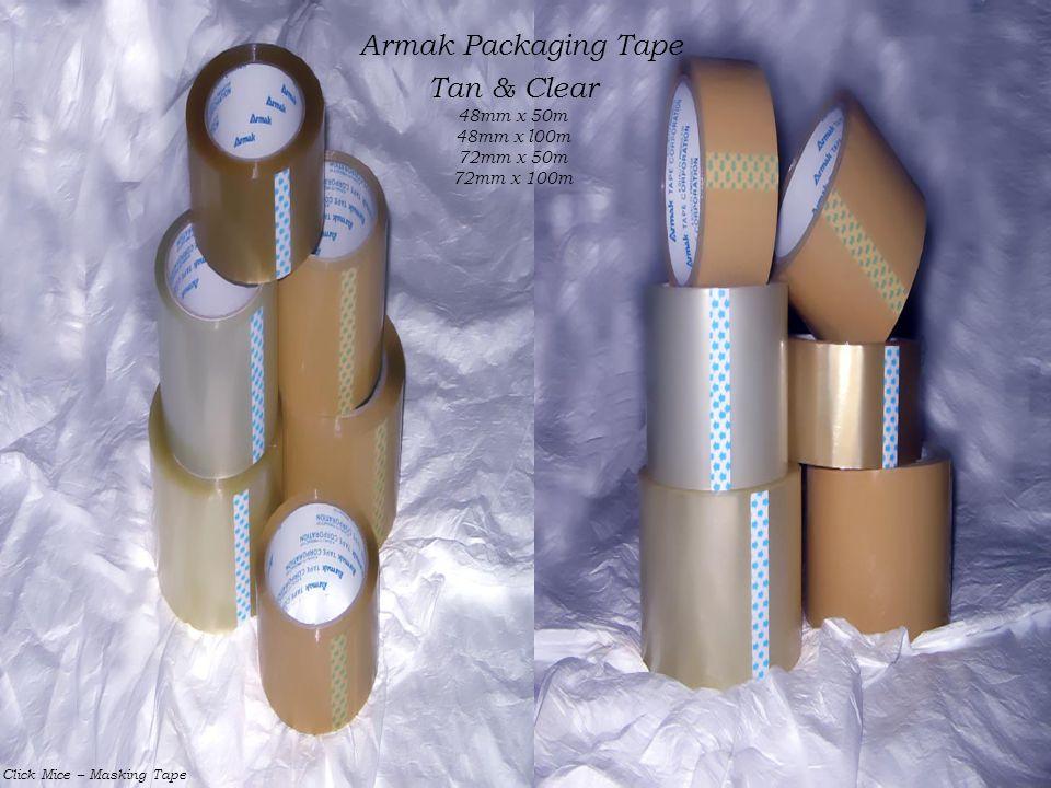Armak Packaging Tape Tan & Clear 48mm x 50m 48mm x l00m 72mm x 50m 72mm x 100m