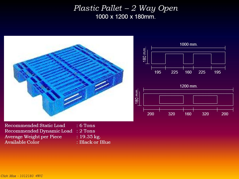 Plastic Pallet – 2 Way Open