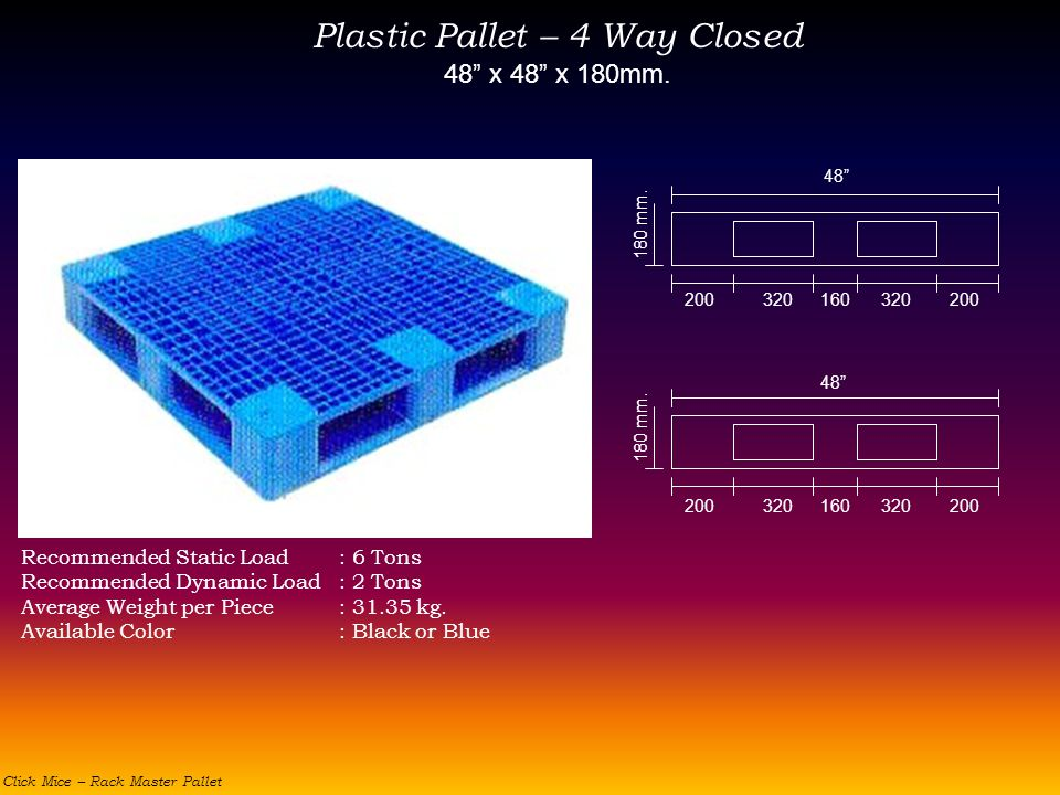 Plastic Pallet – 4 Way Closed