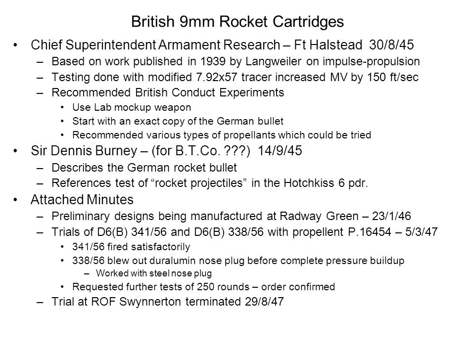 British 9mm Rocket Cartridges
