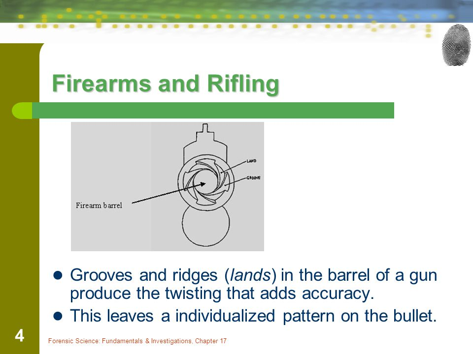 Firearms and Rifling Grooves and ridges (lands) in the barrel of a gun produce the twisting that adds accuracy.