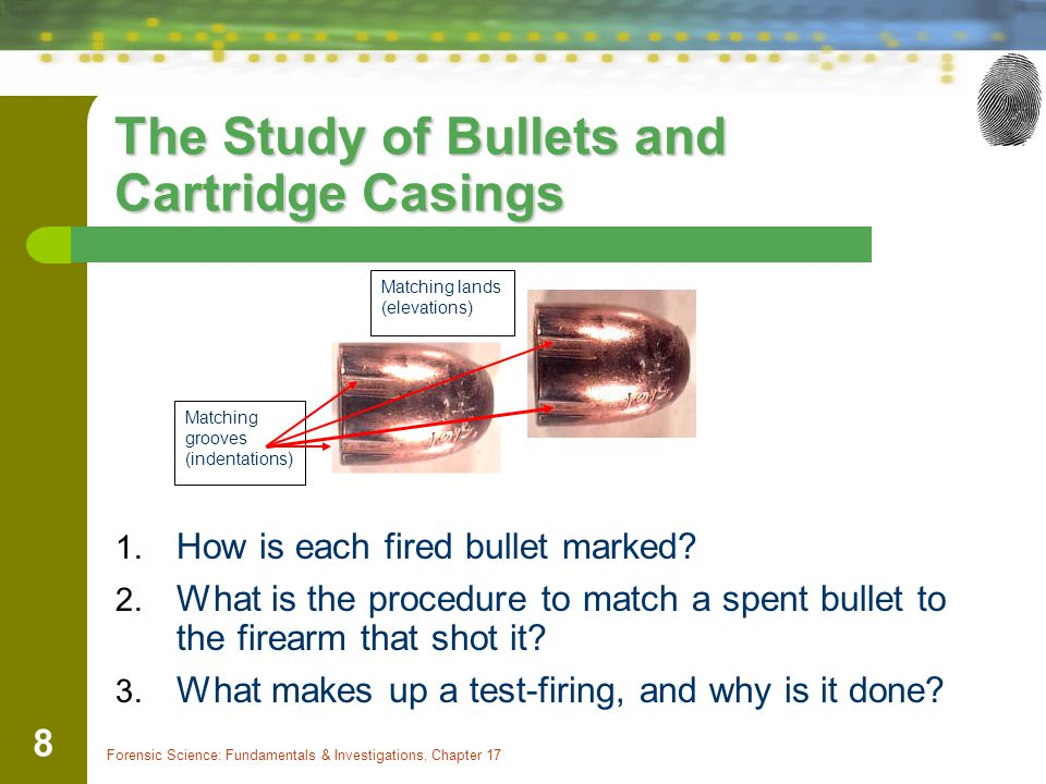 The Study of Bullets and Cartridge Casings