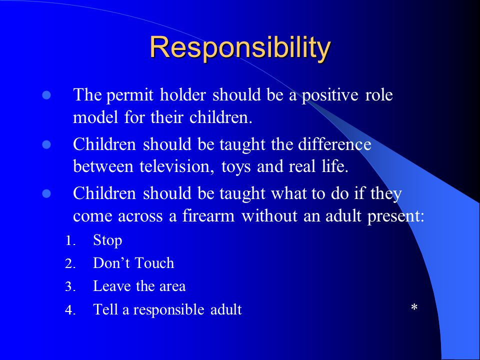 Responsibility The permit holder should be a positive role model for their children.