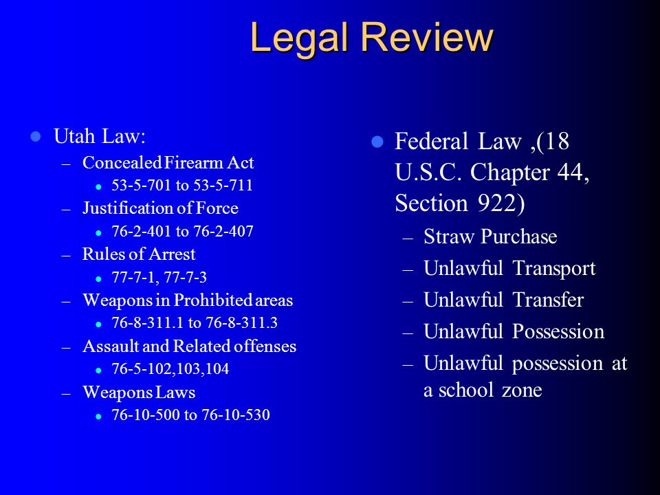 Legal Review Federal Law ,(18 U.S.C. Chapter 44, Section 922)