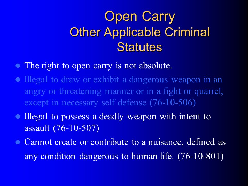 Open Carry Other Applicable Criminal Statutes