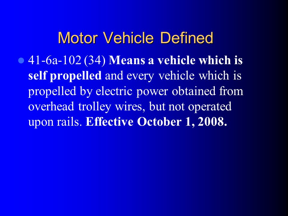 Motor Vehicle Defined