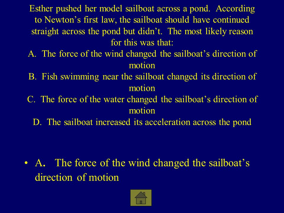 A. The force of the wind changed the sailboat's direction of motion
