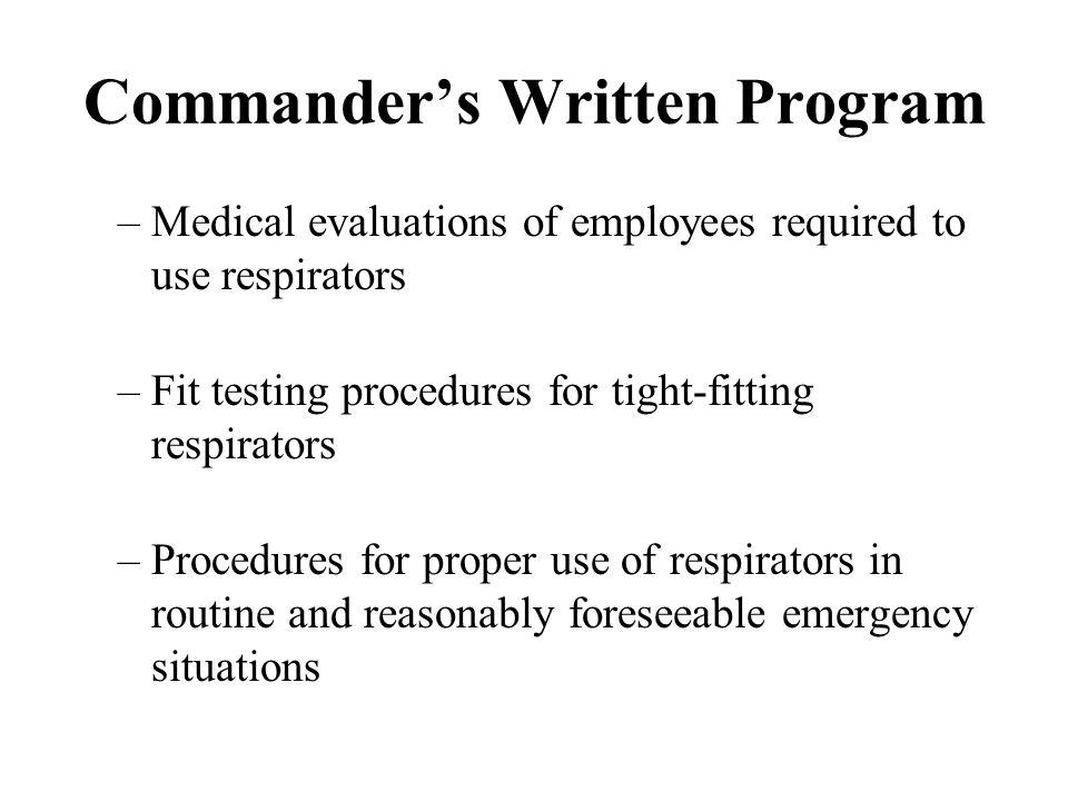 Commander's Written Program