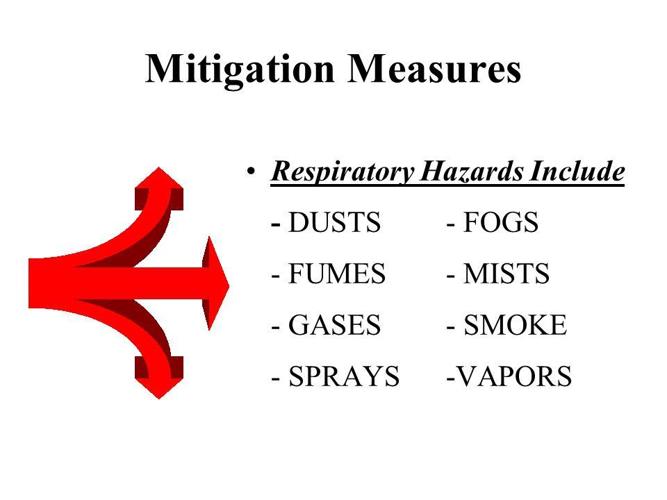 Mitigation Measures Respiratory Hazards Include - DUSTS - FOGS