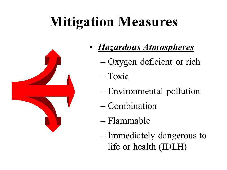 Mitigation Measures Hazardous Atmospheres Oxygen deficient or rich