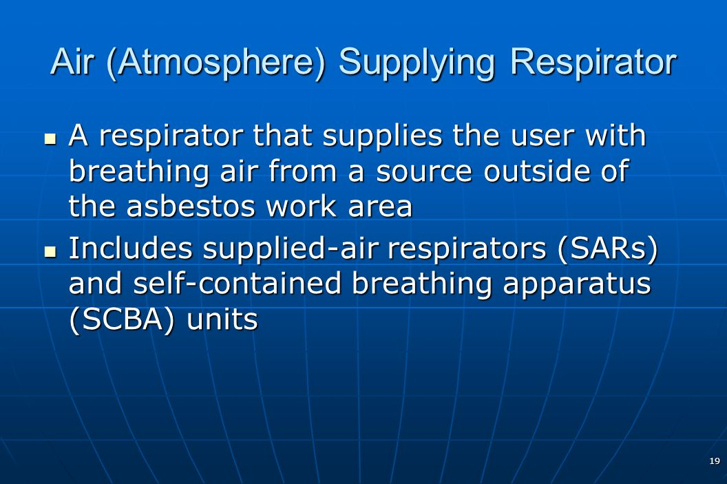 Air (Atmosphere) Supplying Respirator