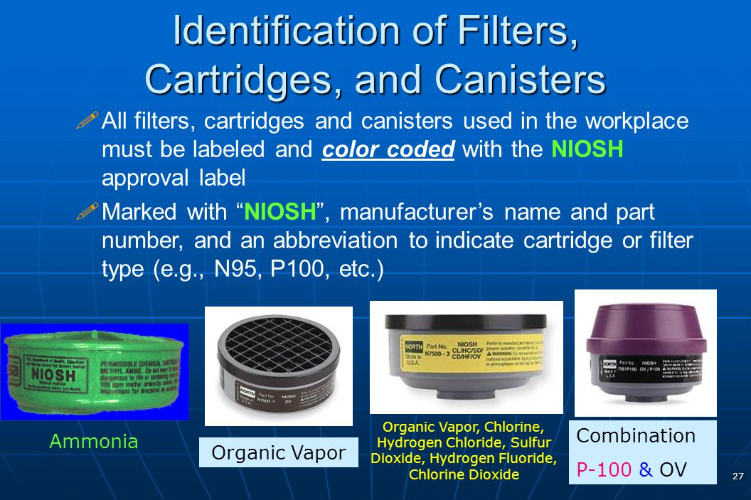 Identification of Filters, Cartridges, and Canisters