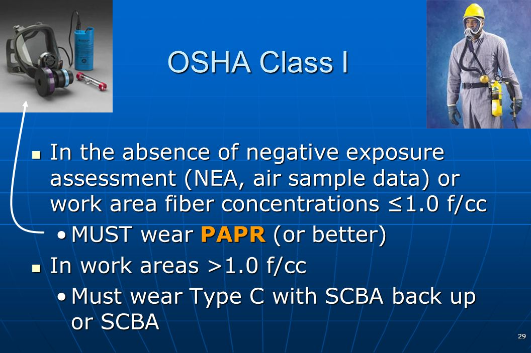 OSHA Class I In the absence of negative exposure assessment (NEA, air sample data) or work area fiber concentrations ≤1.0 f/cc.