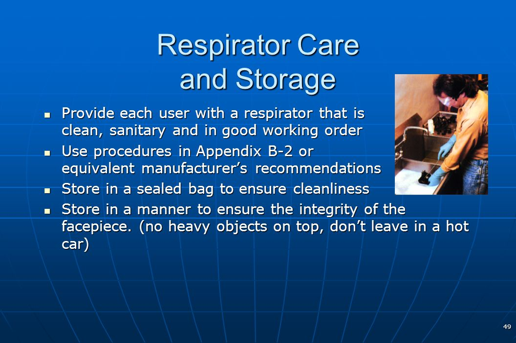 Respirator Care and Storage