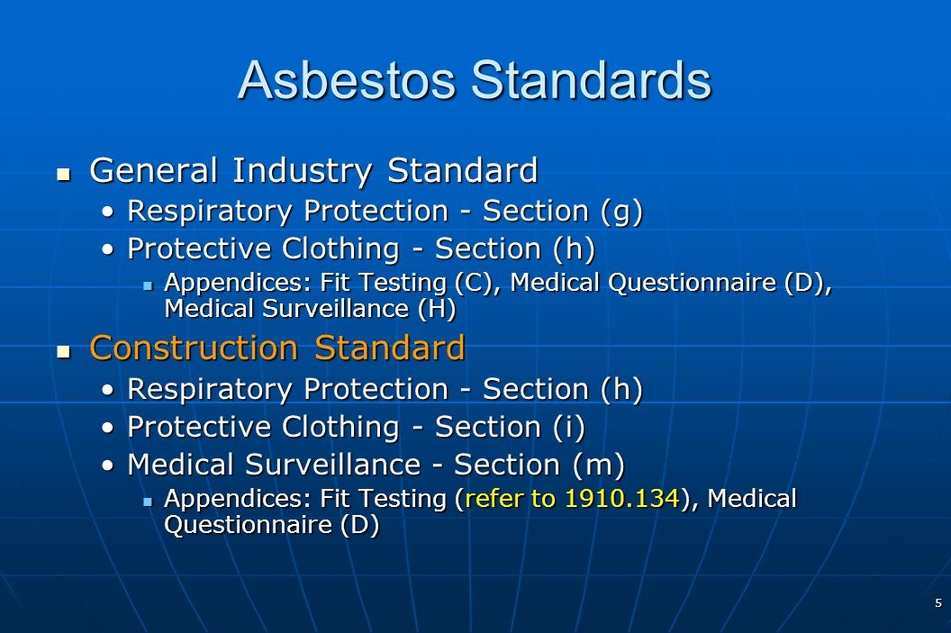 Asbestos Standards General Industry Standard Construction Standard