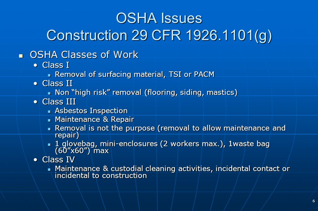 OSHA Issues Construction 29 CFR 1926.1101(g)
