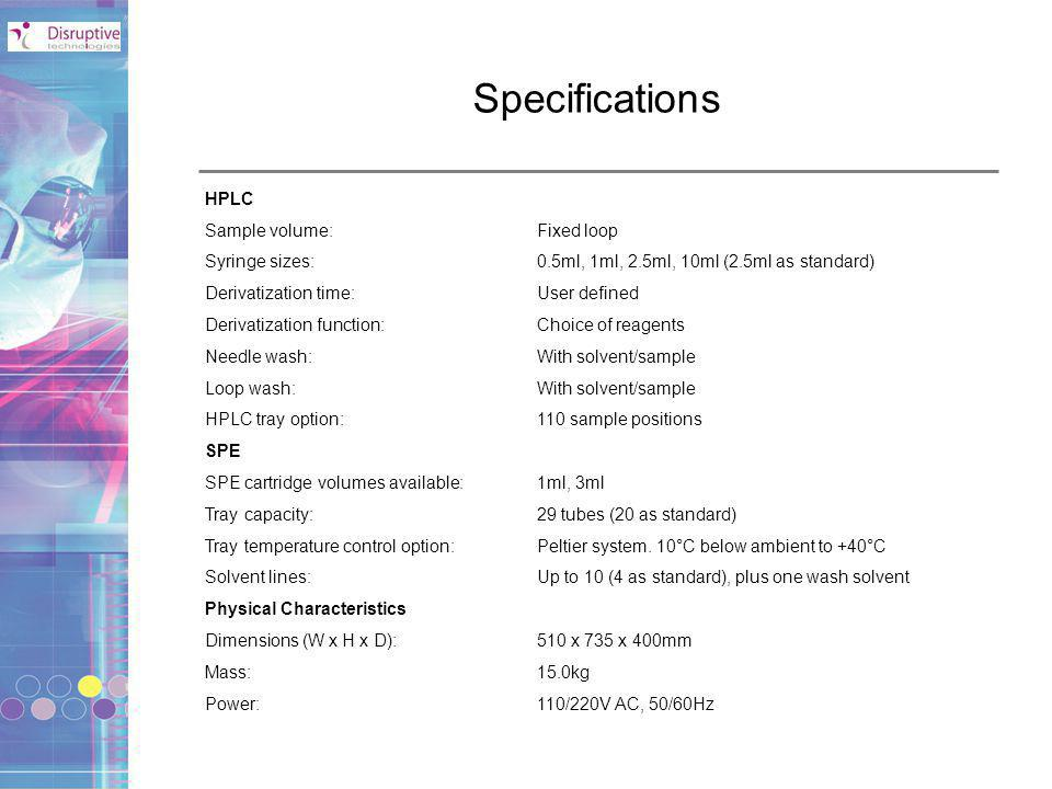 Specifications HPLC Sample volume: Fixed loop Syringe sizes: