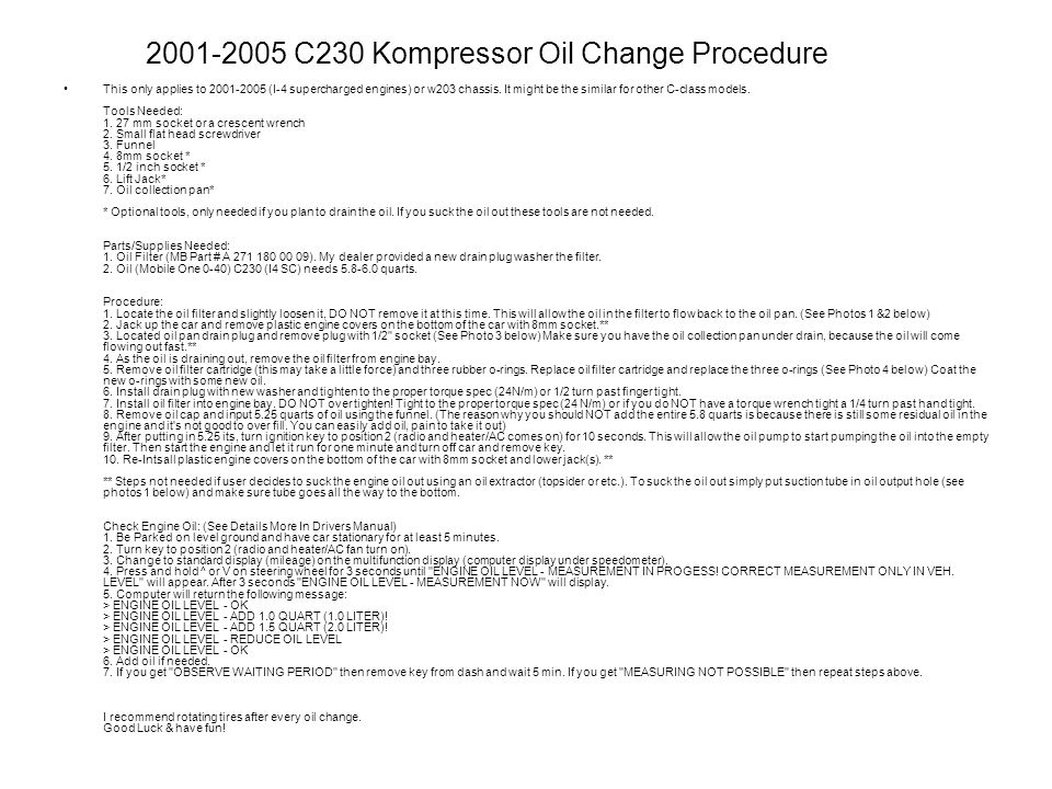2001-2005 C230 Kompressor Oil Change Procedure
