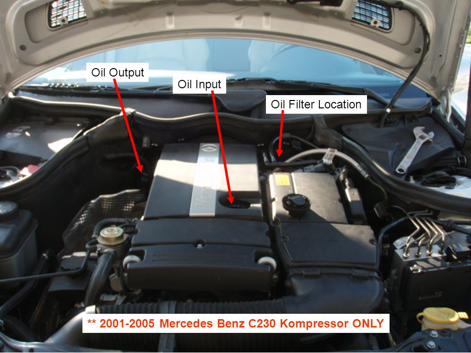 Oil Output Oil Input Oil Filter Location ** 2001-2005 Mercedes Benz C230 Kompressor ONLY