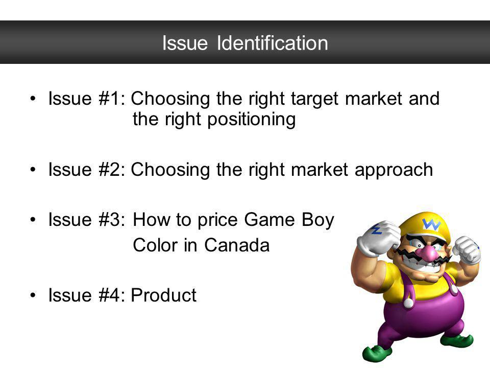 Issue Identification Issue #1: Choosing the right target market and the right positioning. Issue #2: Choosing the right market approach.