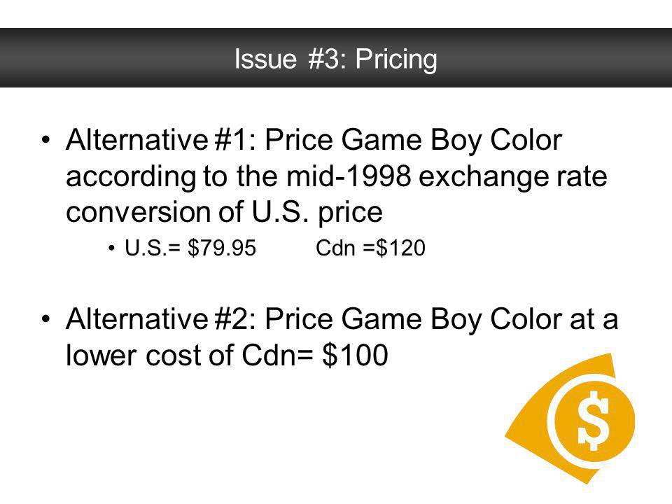 Alternative #2: Price Game Boy Color at a lower cost of Cdn= $100