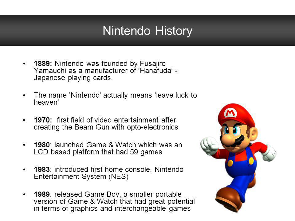 Nintendo History 1889: Nintendo was founded by Fusajiro Yamauchi as a manufacturer of Hanafuda' - Japanese playing cards.