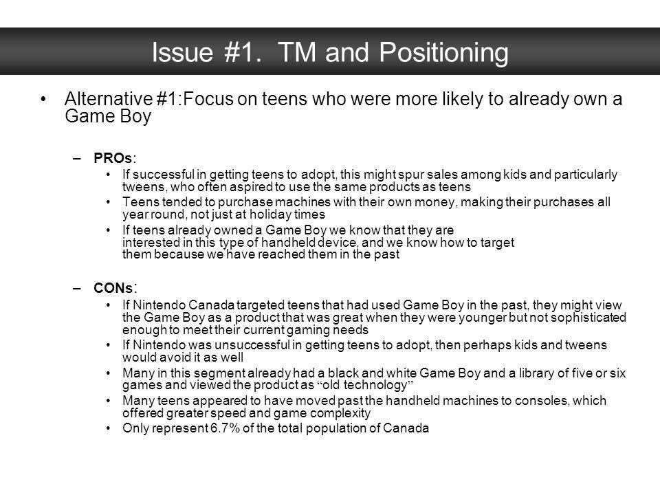 Issue #1. TM and Positioning