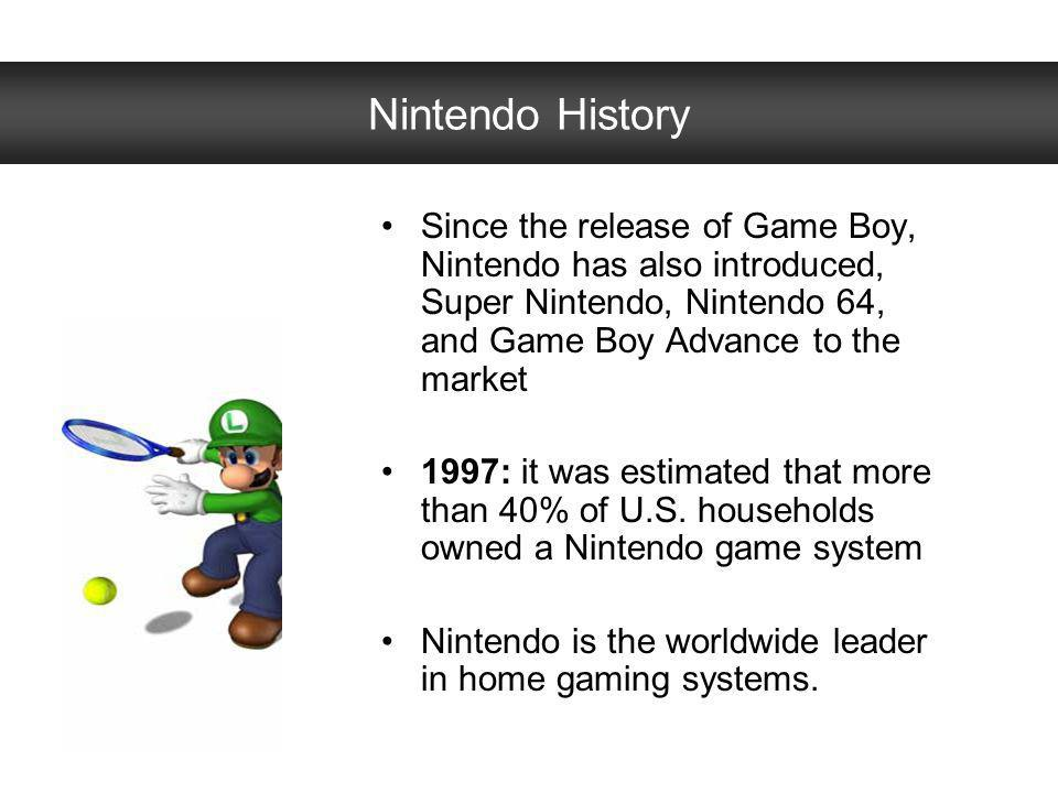 Nintendo History Since the release of Game Boy, Nintendo has also introduced, Super Nintendo, Nintendo 64, and Game Boy Advance to the market.