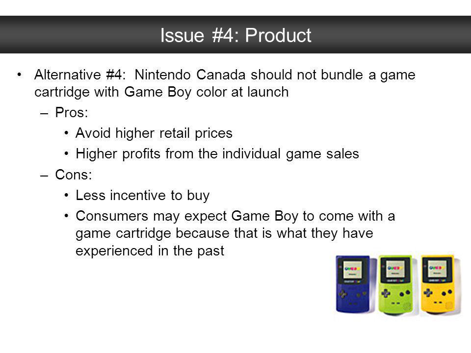 Issue #4: Product Alternative #4: Nintendo Canada should not bundle a game cartridge with Game Boy color at launch.
