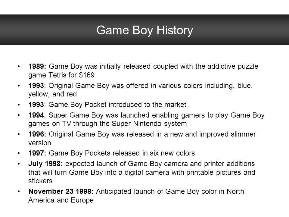 Game Boy History 1989: Game Boy was initially released coupled with the addictive puzzle game Tetris for $169.