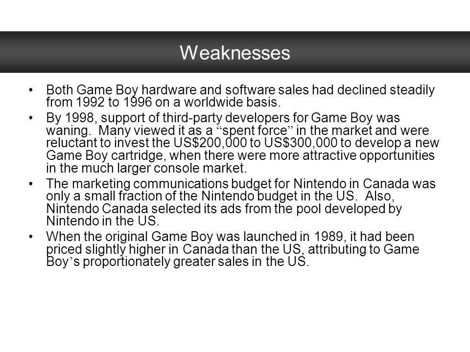 Weaknesses Both Game Boy hardware and software sales had declined steadily from 1992 to 1996 on a worldwide basis.