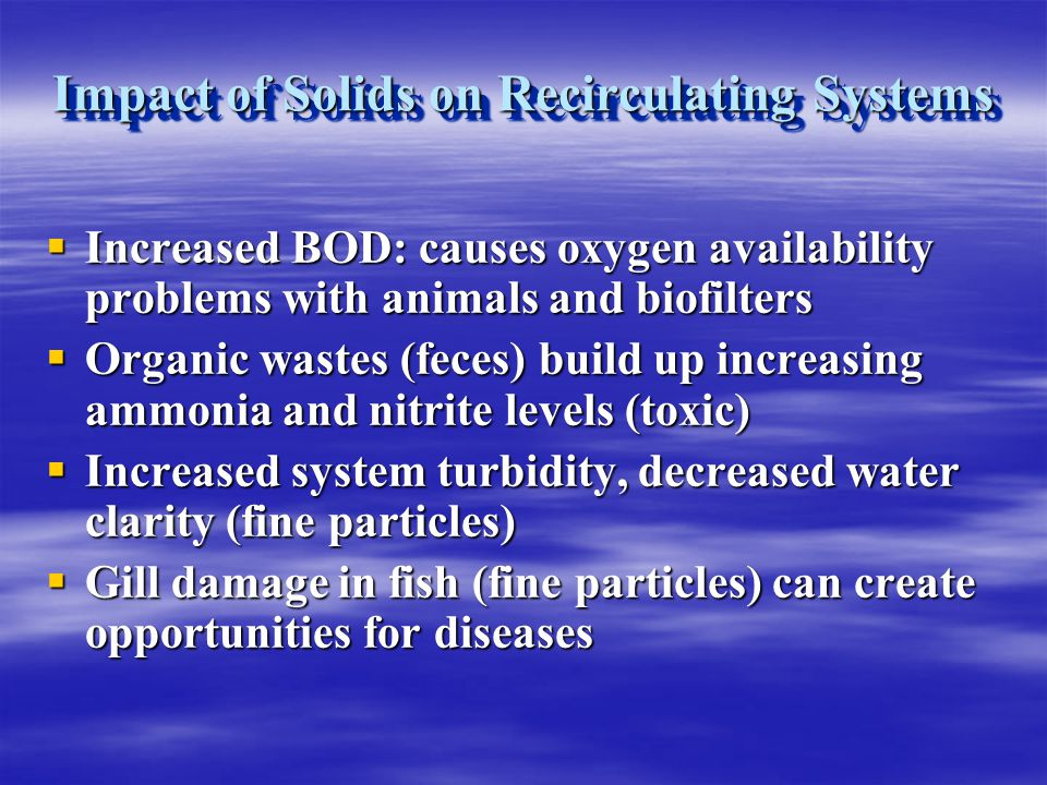 Impact of Solids on Recirculating Systems