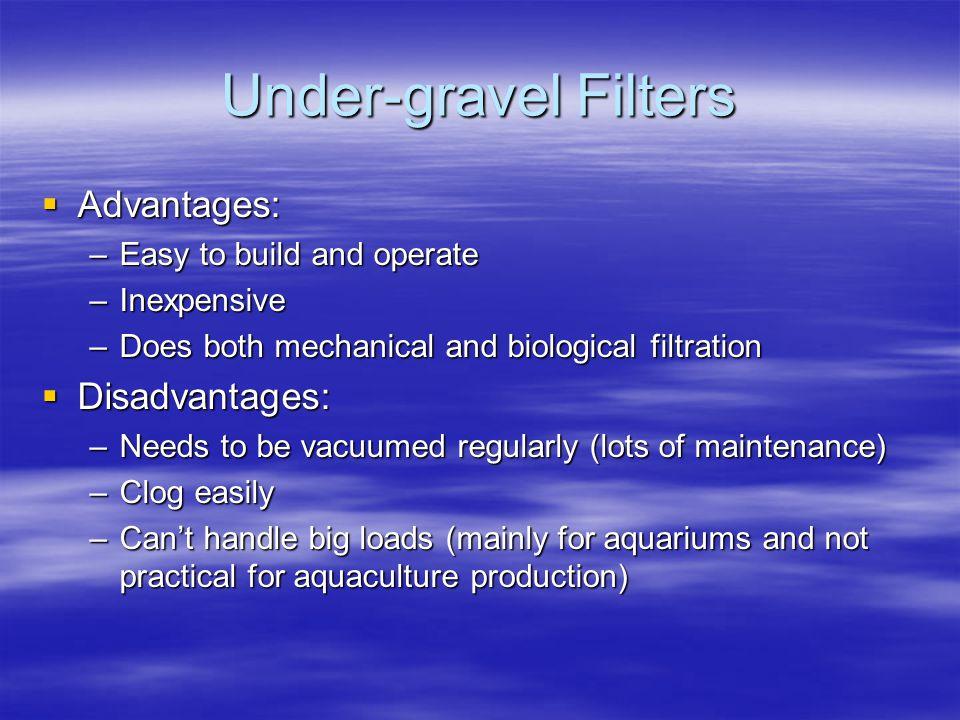 Under-gravel Filters Advantages: Disadvantages: