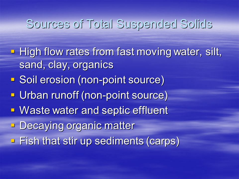Sources of Total Suspended Solids