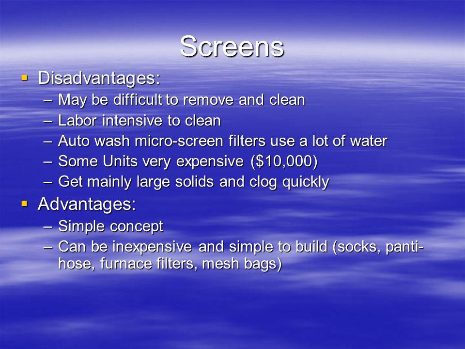Screens Disadvantages: Advantages: