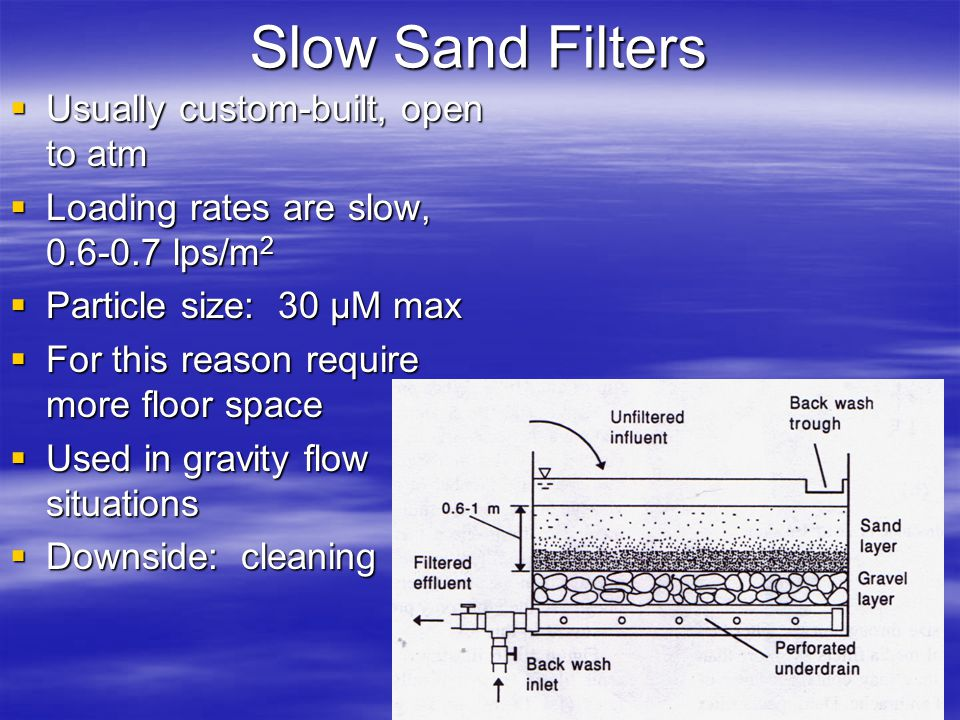 Slow Sand Filters Usually custom-built, open to atm