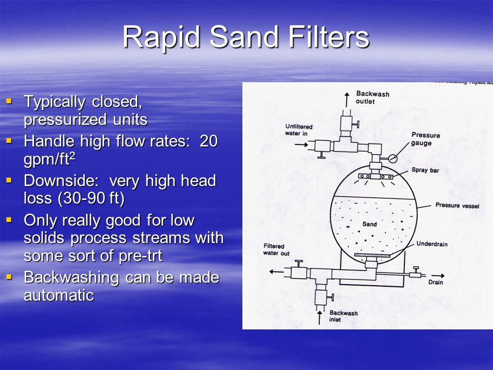 Rapid Sand Filters Typically closed, pressurized units