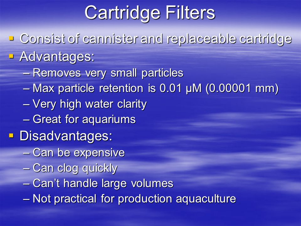 Cartridge Filters Consist of cannister and replaceable cartridge