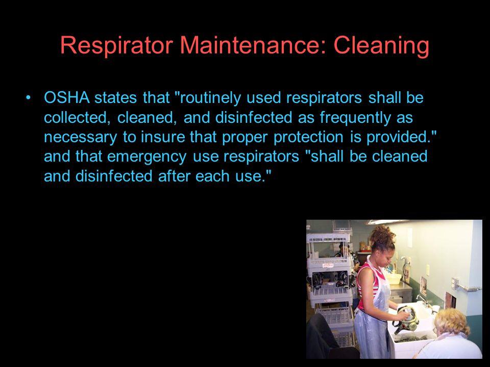 Respirator Maintenance: Cleaning