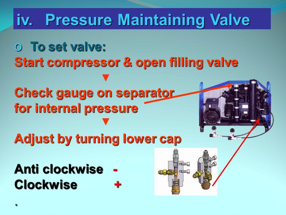 iv. Pressure Maintaining Valve