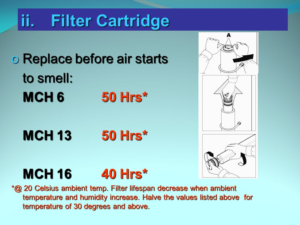 ii. Filter Cartridge Replace before air starts to smell: MCH 6 50 Hrs*