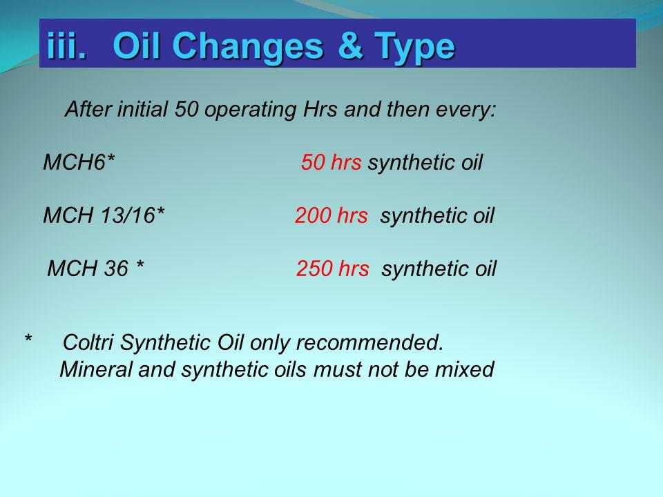 iii. Oil Changes & Type