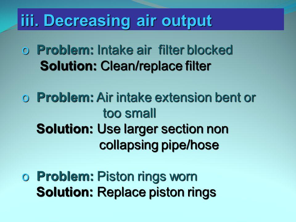 iii. Decreasing air output