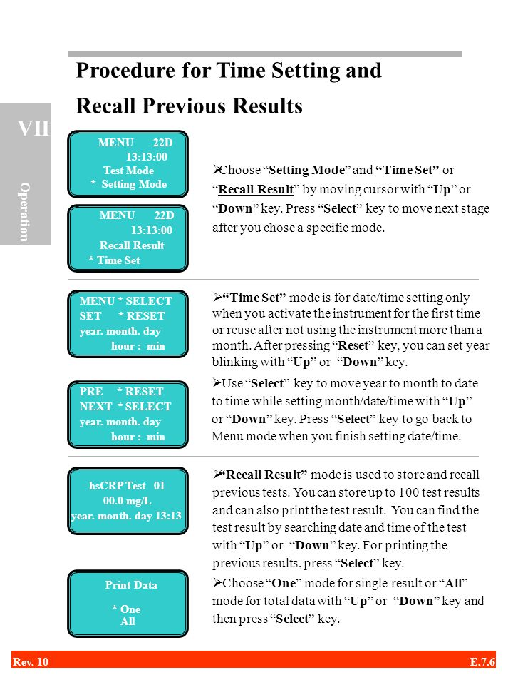 Procedure for Time Setting and Recall Previous Results
