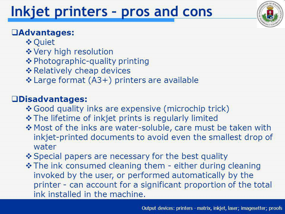 Inkjet printers – pros and cons
