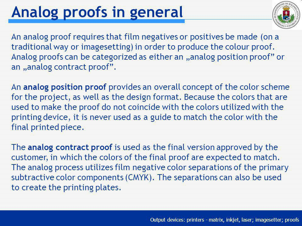Analog proofs in general