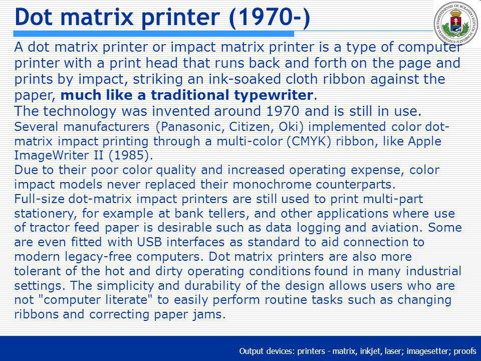 Dot matrix printer (1970-)